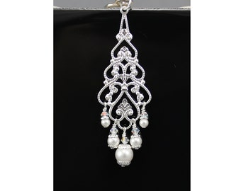 Silver Filigree and Pearls U-Shaped Hair Pin