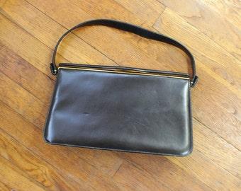 1950's Handbag / Classic Black Leather Purse / Vintage Short Handle Bag