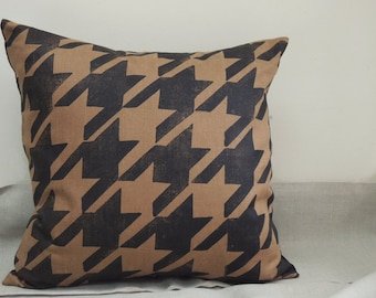 black and brown houndstooth hand block printed linen menswear modern geometric home decor decorative pillow cover