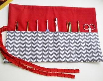 Crochet Needle Organizer /Makeup Roll Up Organizer / Gray Chevron & Red Organizer/ Sewing Tools Organizer