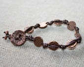 Copper and Leather Bracelet, Copper Bracelet, Knotted Bracelet, Metal Bracelet, Copper, Leather, Hammered Copper Bracelet