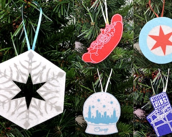 Chicago Ornaments- Snowflake, hot dog, snowglobe, Dibs