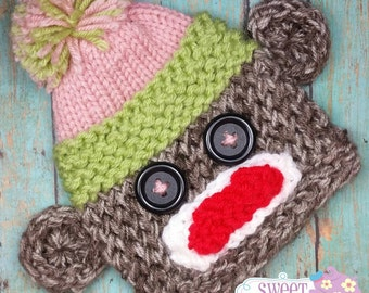 Girl Sock Monkey Knitted Hat 3-6 Months