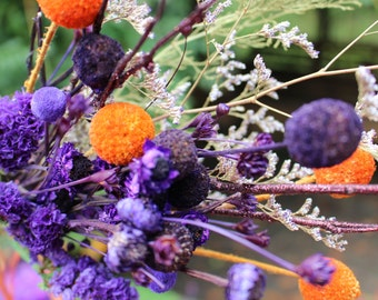 Purple craspedia-Shades of purple & Orange-PB1 Halloween flower bouquets- Caspia-Hill flowers-Glittered Birch-Purple statice