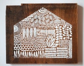 Screen print of a House onto Reclaimed, Repurposed Wood; Ready to Hang Original art