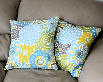 TWO 16 inch Floral Decorative Throw Pillow Covers, Button Blooms Blue, Yellow and Olive Green Cotton Fabric by Waverly Home Essentials, B2