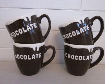 Vintage pottery hot chocolate mugs