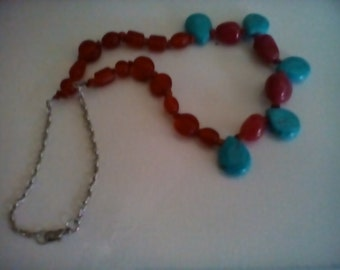 Tear drop turquoise and carnelian necklace.