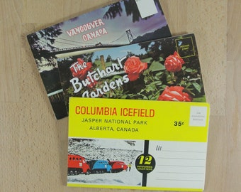 3 x Vintage Postcard Folders from CANADA   Colour Souvenir Photographs   Vancouver   The Butchart Gardens   Columbia Icefield