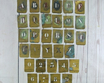 Vintage Brass Letter & Number Stencils Antique Metal Sold Individually