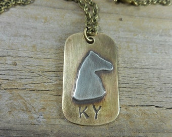 Kentucky necklace, horse necklace, KYstamped necklace,equestrianjewelry,handstamped,hypoallergenic,brassandsilverKYnecklace,dog tag necklace