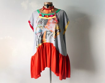 Colorful Shirt Plus Size Bohemian Reconstruct T-Shirt Loose Oversize Orange Boho Tunic Eco Chic Upcycled Clothing Art Clothes 1X 2X 'WHITNEY