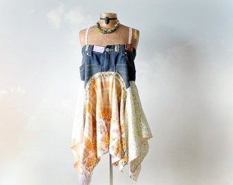 Rustic Tunic Dress Upcycled Jeans Blue Boho Tank Top Festival Clothes Layer Shirt Mori Girl Clothing Lagenlook Style Eco Friendly M 'ERIN'