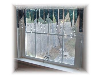 Seaside Stormy Weather  Stained Glass Window Treatment Valance Curtain
