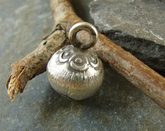 Thai Hill Tribe Fine Silver Bell - One Piece - Lotus Blossom Brushed Fine Silver Bell - htfsblb