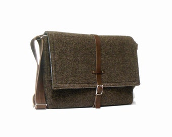Ultimate Stash laptop messenger bag - brown tweed