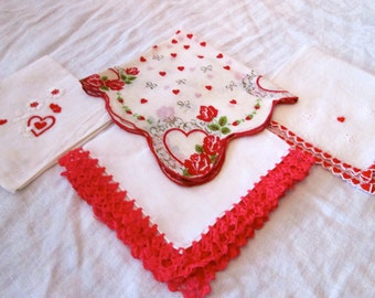 CRY BABY Valentine Hankies / Vintage 50's / Instant Collection of 4 / Red and White/ Hearts and Flowers /Embroidery and Hand Tatted Lace
