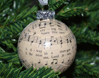 Sheet Music Ornament, Christmas Ornaments, Christmas Carol Ornaments, Music Ornaments, Teacher Christmas Gifts