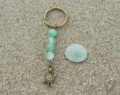 ON SALE Gemstone Keychain, Green Aventurine, Turtle Keychain, Turtle Totem, Beach Accessories,Key Fob