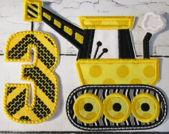 Construction Crane Birthday Custom Made Applique - Iron On or Sew On Embroidered Applique