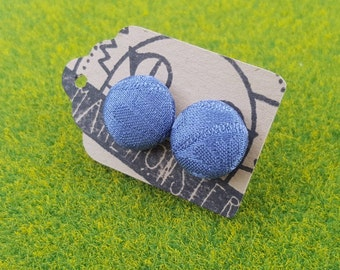 Blue vintage kimono silk fabric covered button earrings