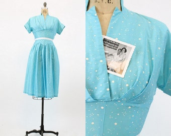 40s Dress Polka Dot Medium / 1940s Vintage Dress Cotton / Golden Girl Dress
