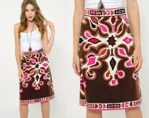 Vintage 60s Geniune EMILIO PUCCI Skirt PSYCHEDELIC Velvet Pencil Skirt Mod Pucci Skirt