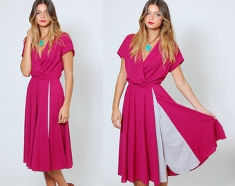 SALE Vintage 80s WRAP Dress Short Sleeve Fit & Flare Secretary Dress COLOR Block Midi Dress