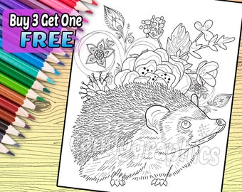 Adorable Hedgehog - Adult Coloring Book Page - Printable Instant Download