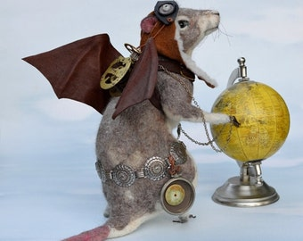 "Steampunk Rose Gray Rat ""Rats Rule"" OOAK Artist Needle felt Sculpture by Stevi T.    Free Shipping"