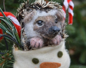 Gift Special OOAK Needle felted Christmas Heddy Hedgehog Ball Holiday Ornament Snowman Pouch Exotic pet by Stevi T.