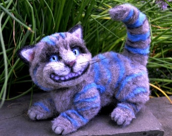 Cheshire Cat from Wonderland OOAK Alpaca Needle Felt
