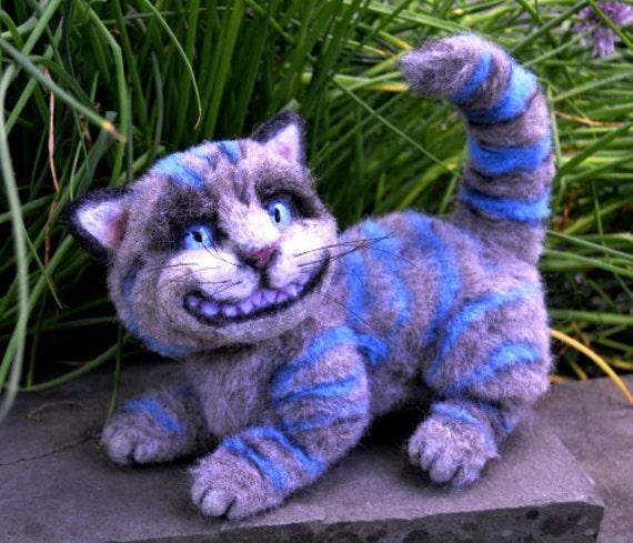Cheshire Cat from Wonderland OOAK Alpaca Needle Felt