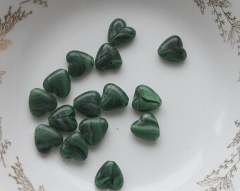 dark green glass heart beads,heart beads,heart glass beads,dark green heart,dark green beads,jewelry beads,