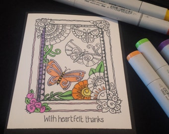 All Occasion Coloring Greeting Cards ~ Set of 4 Hand Stamped with Envelopes ~ Zentangle Doodle Style