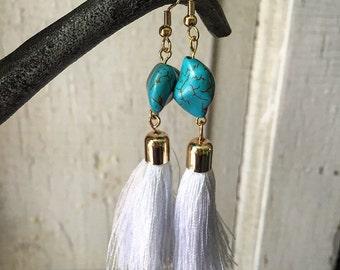 White beaded tassel earrings, turquoise tassel earrings, tassel earrings, tassel jewelry