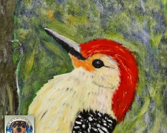 Woodpecker Painting Fine Art for Sale Acrylic Painting on Canvas Rustic Modern Decor Contemporary Decor Modern Traditional Decor Bird Art