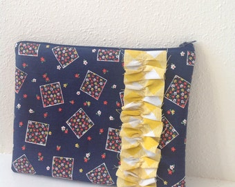 Navy Zipper Pouch/ Vintage Fabric/ Ruffled Pouch
