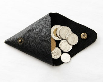 Triangle Coin Purse; Leather Coin Purse; Coin Purse; Double Coin Purse; Black