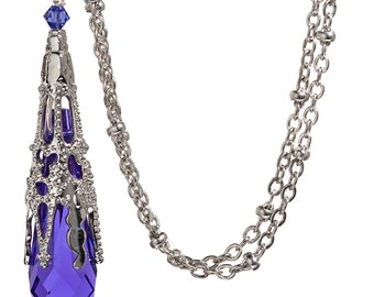 Vintage Pendant Icicle Purple Crystal Necklace, NeoVictorian Gothic Filigree Crystal Pendant Necklace