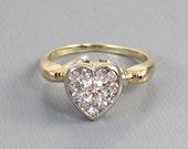 Perfect Valentine Antique Edwardian 14k gold .44 carat diamond cluster heart shaped engagement wedding bridal ring