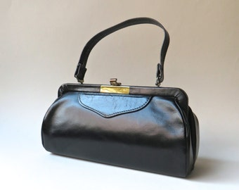 Mid Century vintage Petite Elongated Boxy Black Leather Handbag