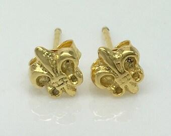 Fleur de lis post earrings, gold fleur de lis earrings, men's stud earrings, gold stud earrings, unique stud earrings, gifts, 466 Yellow