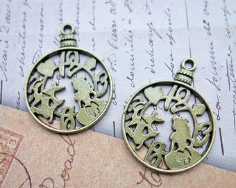 Alice in Wonderland theme pocket watch charms - 5 pieces