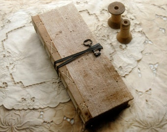 Farmhouse Journal - Large Fabric Covered Journal, Ledger Style, Aged Paper - OOAK