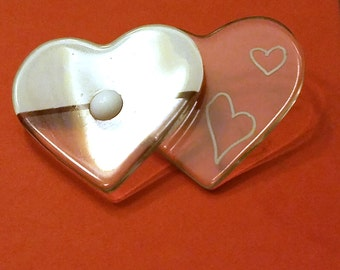 Wonderful Lucite Double Heart White and Clear Pin Brooch