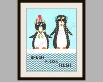 PENGUIN Art Print, KIDS Bath Wall Art, PENGUIN Wall Decor, Bathroom Art