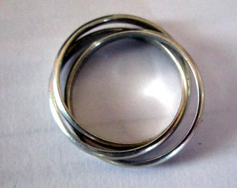 RING - RUSSIAN ROLLING Rings - Unique  -  3 Bands - connected - 925 - Sterling Silver - Size  10  Misc330