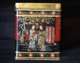 Old Made in England Tea Tin with Oriental Scenes-Square and Hinged Lid