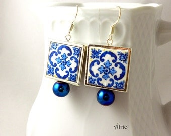Portugal Antique Azulejo Tile Replica Earrings 925 SiLVER FRAMED - from BRAGA Blue! (see actual Facade photo) 760 SF